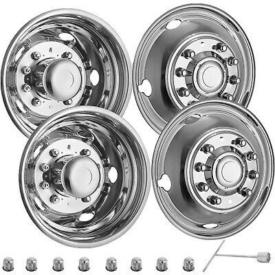 """Ford F450 F550 LCF 2005-2016 19.5/"""" 10 LUG POLISHED STAINLESS STEEL WHEEL COVERS"""