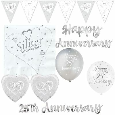 Silver 25th Wedding Anniversary Party Decorations Balloons Banners Celebration