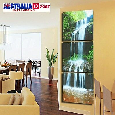 3PCS HD Framed Waterfall Canvas Picture Print Paintings Home Wall Art Decoration
