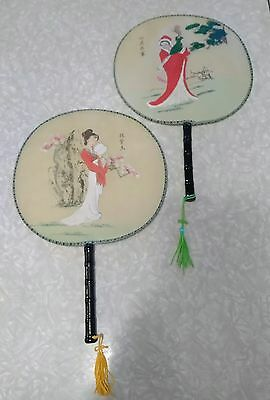 Pair of vintage Japanese hand fans. Paddle style.
