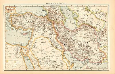 1893 Antique Map - Asia Minor And Persia, Cyprus
