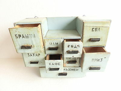 "15"" ANTIQUE 9 Drawer Wood Shabby Chic PRIMITIVE Country Farmhouse spices Cabinet"