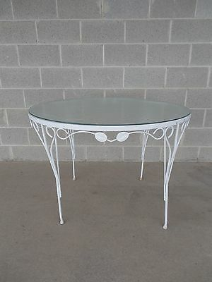 """Vintage Wrought Iron Woodard Style Round Glass Top Table 42""""W x 29""""H"""