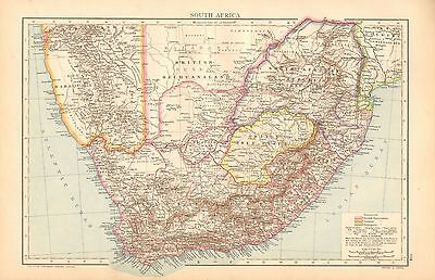 1893 Antique Map - South Africa