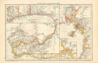 1893 Antique Map - West Africa, Colonial Map