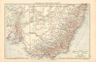 1893 Antique Map - Australia-Victoria And New South Wales