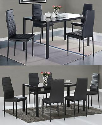 Westwood Glass Dining Table With 4 6 Chairs Set Faux Leather Dining