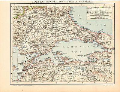 1893 Antique Map - Constantinople And The Sea Of Marmara