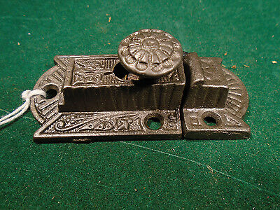 VINTAGE EASTLAKE CABINET LATCH w/ STEEL KNOB and with KEEPER   (9338)