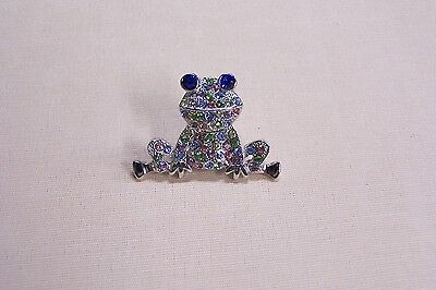 Pave Frog Pin Finished with All Swarovski Crystals - Multi Colored
