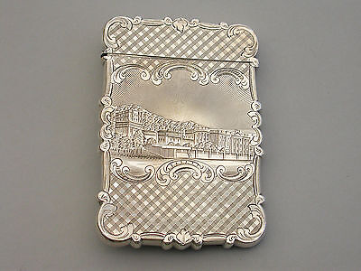 Victorian Silver Castle-Top Card Case 'Chatsworth House & Burns Monument' 1846