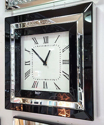 Modern Mirrored Black Frame Glass Square Wall Clock 50cm Silver MWC189