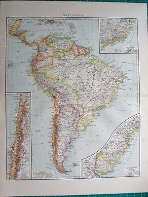 1893 Antique Map - South America