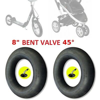 "2 X INNER TUBE 8"" x 1 1/4"" BENT VALVE KID STROLLER PUSHCHAIR BUGGY PRAM TRIKE"