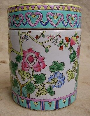 chinese export famille rose tea caddy chinese canton canister