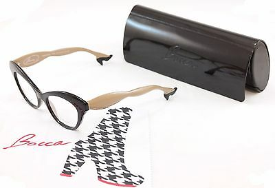 Authentic Face A Face Bocca 3 2059 Eyeglasses Black Cream Beige Italy Hand Made
