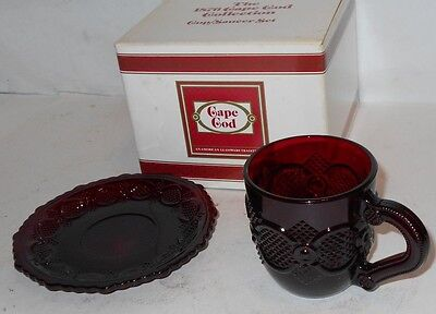 Avon 1876 Cape Cod Ruby Red Glass CUP AND SAUCER SET - NEW in Box