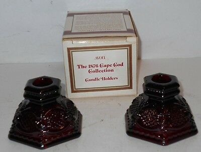 Avon 1876 Cape Cod Ruby Red Glass CANDLE HOLDER SET OF 2 - NEW in Box