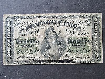 1870 Dominion of Canada 25 Cent Bank Note Paper Money Dickinson / Harington
