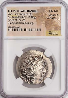 Outstanding NGC Ch. AU Ancient Greek (Celts) Tetradrachm Dionysus, God of Wine
