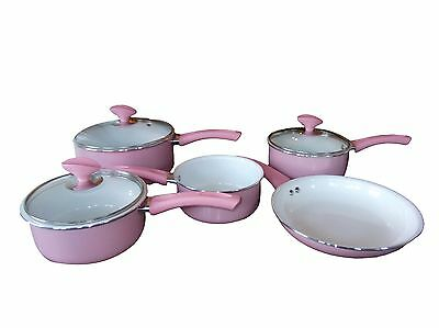 Family Sized Pink 5-Piece Pan Set With Ceramic Inner Non Stick Coating.