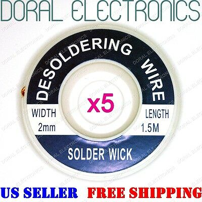 5 PCS 5ft 2.0mm Desoldering Braid Solder Remover Sucker Flux Wick Cable Wire