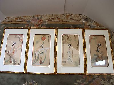 Set of 4 Vintage Chinese Beautiful Young Ladies Watercolor on Silk Paintings