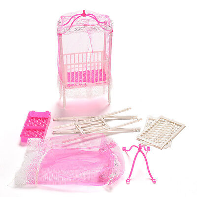 Unique Crib with Mosquito Net Doll Accessories for Barbie Girls Gift TO