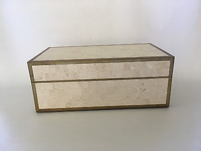 Vintage Maitland Smith Tessellated Stone Box w/ Brass Inlay Frame