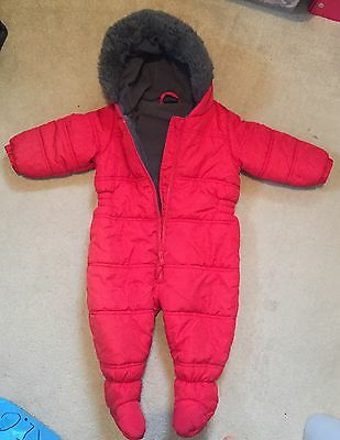 Next Unisex Red and Charcoal Snowsuit. 9-12mths. Immaculate.