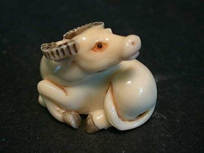 OLD Japanese Ivory colored Bone Netsuke- recumbrant Cow/Steer/Water Buffalo