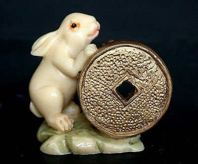 OLD Japanese Ivory colored Bone Netsuke-  Rabbit showoff Giant Gold coin