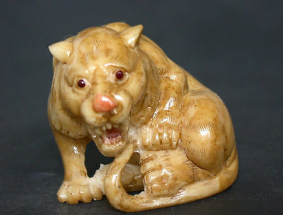OLD Japanese Ivory colored Bone Netsuke- Baby Tiger crying for its Mommy