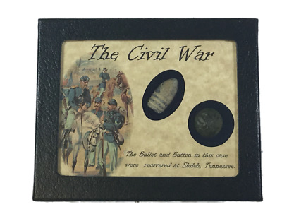 Civil War Bullet & Button Set from Shiloh, TN in Display Case with COA
