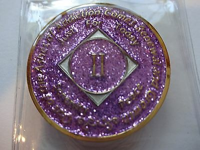 NA Purple Glitter Coin 2 Year Tri-Plate Narcotics Anonymous Medallion CaseStand