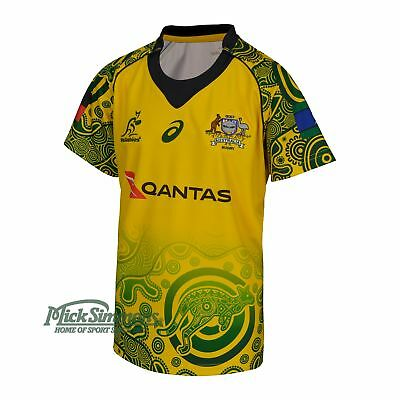 NEW Wallabies 2017 Official Kid's Indigenous Rugby Jersey by Asics