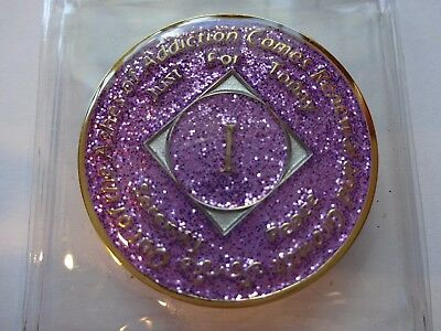 NA Purple Glitter Coin 1 Year Tri-Plate Narcotics Anonymous Medallion Case&Stand