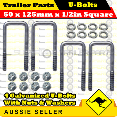 4 x U-Bolts 50mm x 125mm Square with Nuts Galvanized Trailer Box Boat Caravan