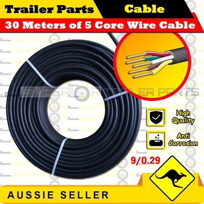 30M x 5 Core Wire Cable Trailer Cable Automotive Boat Caravan Truck Coil V90 PVC