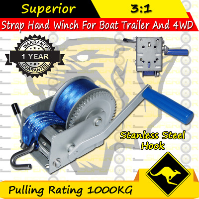Superior 1000KG Boat Hand Winch 3:1CAR BOAT TRAILER 4WD HAND WINCH