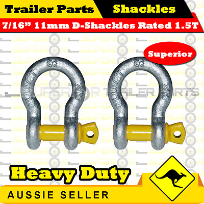"""7/16"""" 11mm Hot Dip Galvanised Bow Shackle Rated 1500kg / Pair  for Boat Trailers"""