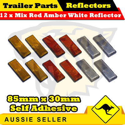 12 x Mix Red Amber White 85mm x 30mm Self Adhesive Reflectors-Superior Trailers