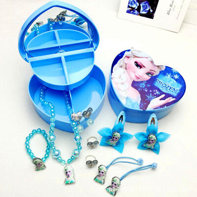 Disney Frozen Anna & Elsa Jewelry Box with Nacklace Ring Earring Girls Gift