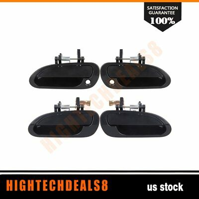 For 98-02 Honda Accord Door Handles 4Pcs Right&Left Front&Rear Exterior Black