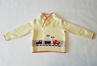 VINTAGE Toddler 60s 70s Train Sweater Made In Philippines CrossOver Neck Sz 2T