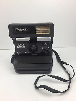 Vintage Polaroid 600 One Step Gray Instant Film Camera With Neck Strap FREE SHIP