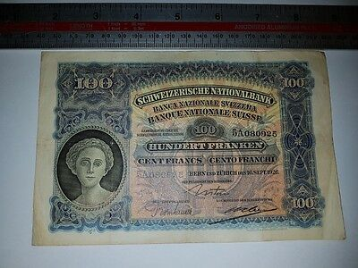 Switzerland 100 francs 16th Sept 1926 Banknote very good condition