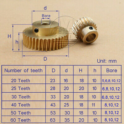 1 Modulus 20 25 30 40 Teeth Worm / Gear  For Shaft Drive Gearbox Set - Select