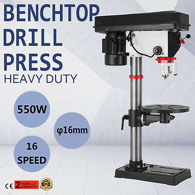 16 Speed Bench-Top Drill 16 mm Drilling Dia 16A 0-45 degrees Tilt Adjustable
