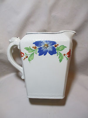 Vintage 1840 HARKER Pitcher With Beautiful Floral Pattern blue